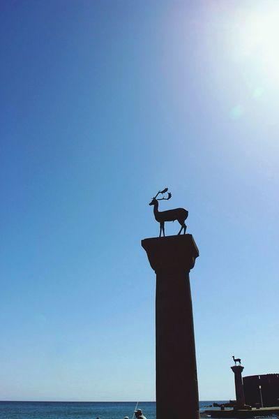 Sky Statue Clear Sky Sculpture Day Greece Photos Greece Rhodes Rhodes Greece Sea Harbor