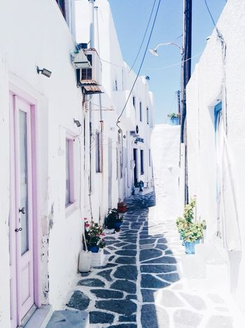 Building Exterior Architecture Built Structure Day Outdoors Hanging The Way Forward Sky Flower No People Clear Sky Summer Colors House Authentic Blue Street Sunlight Greece White Color Greek Islands Sun Daylight Typical Summertime Summer