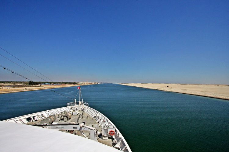 Water Sky Blue Sea Transportation Outdoors Travel Nautical Vessel No People Day Waterway Suez Canal Egypt