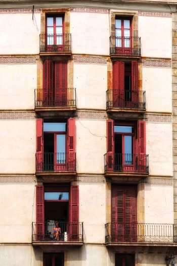 Red Shutters Window Architecture Building Exterior Built Structure Day Full Frame No People Outdoors Apartment Colour Your Horizn