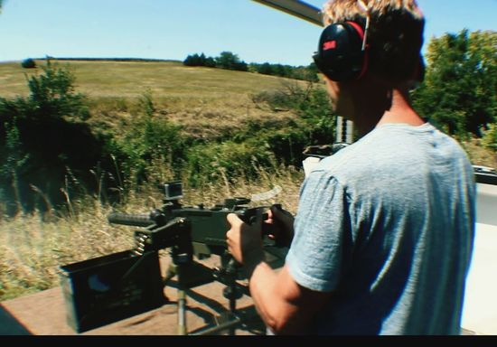 Browning Rifle Browning Automatic Rifle Automtic Weapon Guns Gun Man Shooting Machine Gun Machine Gun Machine Gun Type Weapon Machinegun Machine Guns Shooting Prarie Farm Life Nra 2nd Amendment South Dakota Gunner Ear Protction Ear Protection