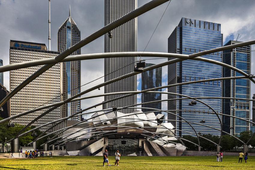 Jay pritzker Pavilion at Millennium Park Chicago Full Frame Jay Pritzker Pavilion Jay Pritzker Pavilion Outdoors USA