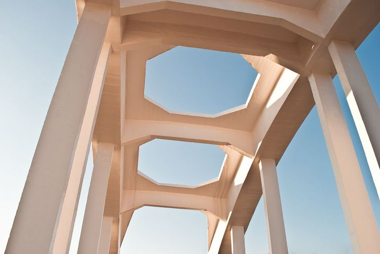 Low angle view of structure against clear sky
