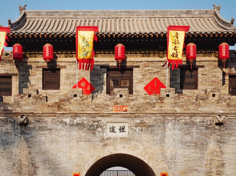 China Street Photography Travel Tranquil Scene Winter Landscape Old Buildings China Photos Spring Festival Taiyuan Architecture Red History Arch Travel Destinations Architectural Column Ancient Built Structure Building Exterior Day Outdoors