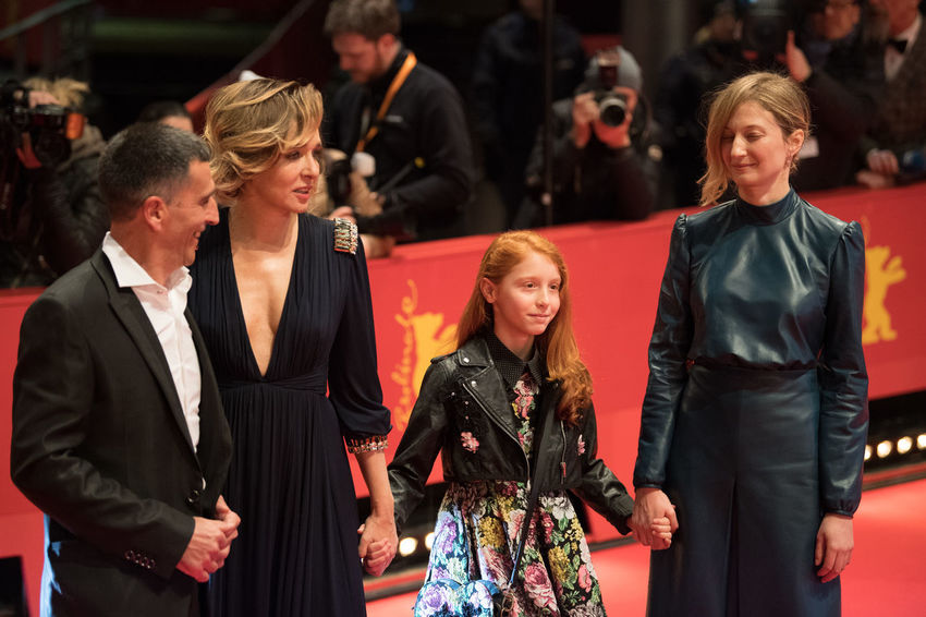 Berlin, Germany - February 18, 2018: Valeria Golino, Michele Carboni, Sara Casu, Alba Rohrwacher attend the 'Daughter of Mine' (Figlia Mia) premiere during the 68th Berlinale Film Festival 2018 Actors Alba Rohrwacher Artist Famous Film Festival Premiere Valeria Golino Arts Culture And Entertainment Berlinale Berlinale 2018 Berlinale Festival Berlinale2018 Berlinale68 Entertainment Entertainment Event Focus On Foreground Michele Carboni People Popular Posing Red Carpet Red Carpet Event Sara Casu Star