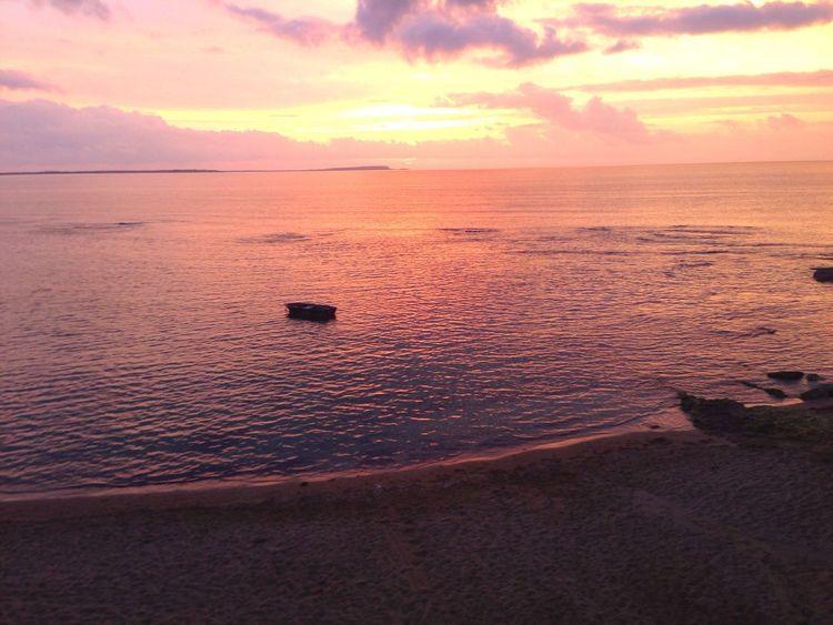 Sunset Sea Water Horizon Over Water Sky Beach