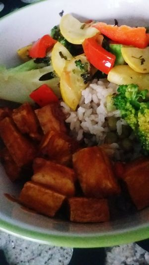 Teriyaki Peanut Tofu with stirfry vegetables, brown rice and baby peas Danielfast