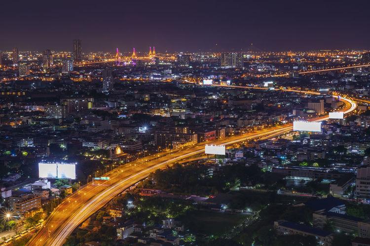 Bangkok city scape. beautiful bhumibol bridge and river landscapes. bangkok thailand may 27, 2019