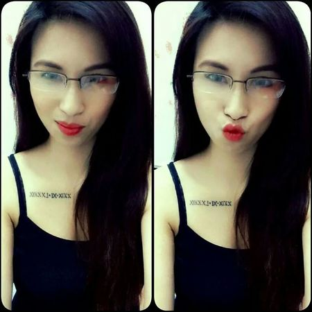 Mwah! Selfie Asian Girl RomanNumerals Tattoo