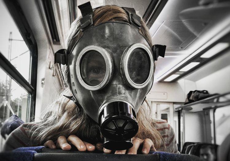 Close-up Transportation Window Land Vehicle Mode Of Transport Day Person End Of The World War Wojna Maska Gazowa A Gas Mask Girl Dziewczynka