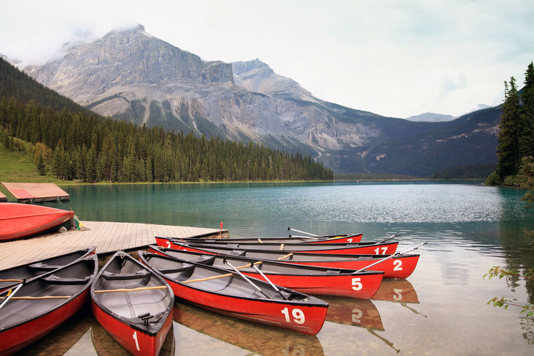 Canoes Moored At Emerald Lake In Yoho National Park
