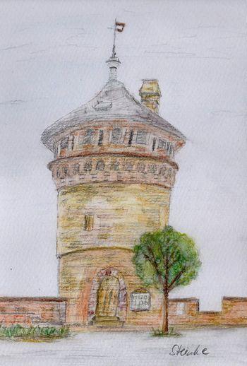Turm auf Schloß Werningerode Aquarell Kunst Art Schloss Werningerode Tower Castle Harz Drawing Malerei Aquarellpencil