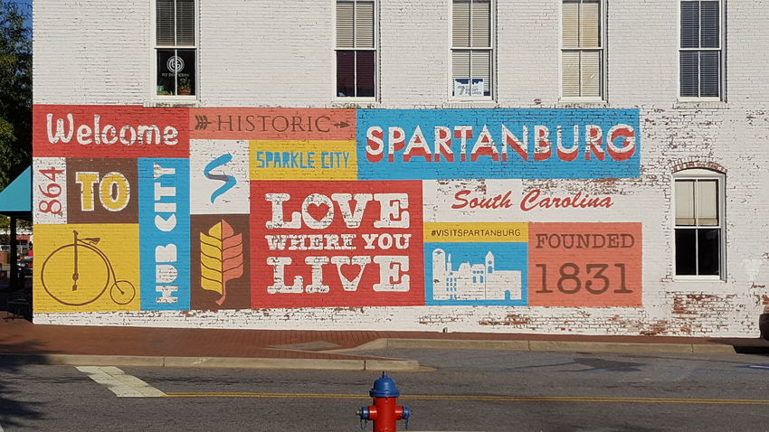 Welcome to Spartanburg City Outdoors Day Built Structure Text City Life Architecture Building Exterior No People Love Where You Live Love My Life  Representing Spartanburg Communication Text Welcome 864 Historical Place Downtown