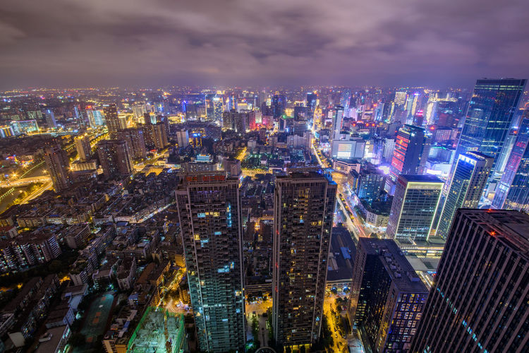 The skyline in Chengdu downtown Aerial View Architecture Building Exterior Chengdu China City City Life City Street Cityscape Downtown Downtown District Financial District  High Angle View Lights Modern Night Nightlife No People Outdoors Real Estate Sky Skyline Skyscraper Embrace Urban Life Urban Skyline