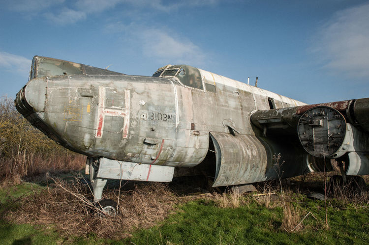 Abandoned aircraft, Long Marston airfield Derelict Abandoned Aircraft Damaged Day Grass No People Obsolete Outdoors Sky Ww2