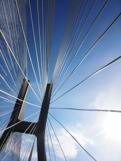 Low angle view of bridge against sky on sunny day