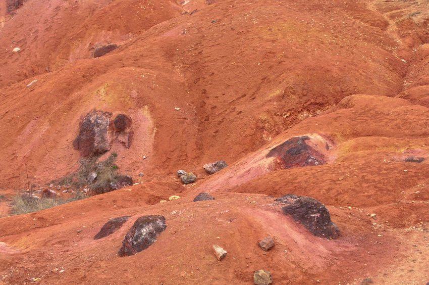 It seems like on Planet Mars, Martian like landscape Iron Mars Minerals Oxide Plant Raw Red Rock Alumina Aluminium Barren Bauxite Geology Landscape Martian  Martians Mine Mining Open-pit Mining Recultivation Sedimentary