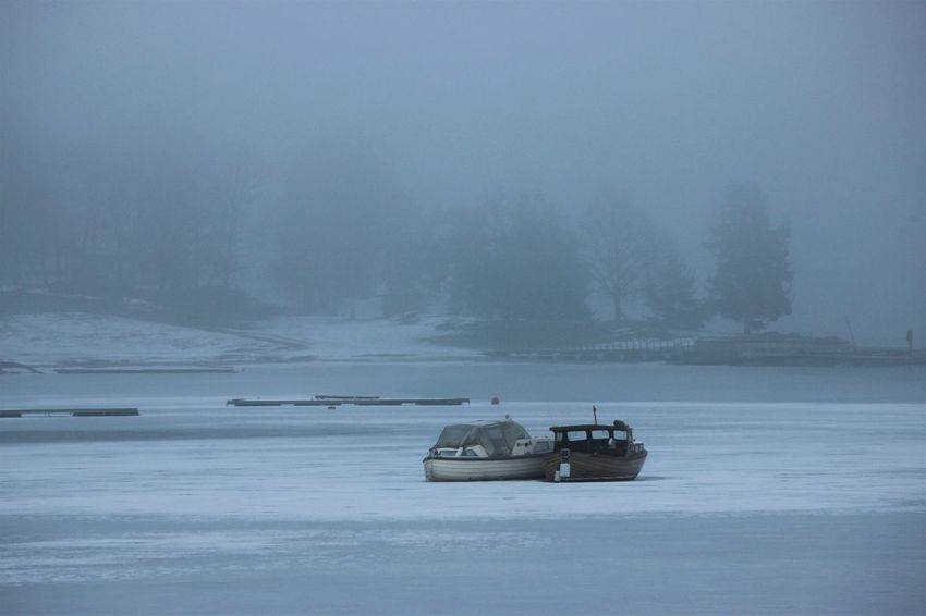 Frozen Ice Outdoors Snow Winter Foggy Oslofjorden Norway Winter_collection Sea_collection Sea View Cold Temperature Water Boats Nautical Vessel Fog Sea Nature Day No People EyeEm Gallery EyeEm Nofilter Noedit Togetherness
