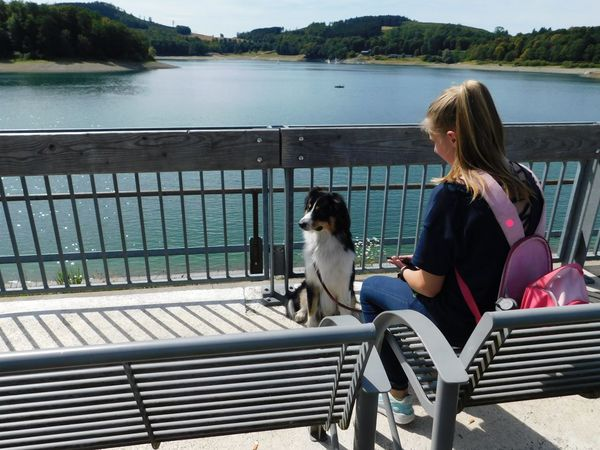 Girl Daughter My Daughter Aussie Australien Shepherd EyeEm Here Hennesee Sauerland Waiting Family Time Outside Lake EyeEm Nature Lover Beauty In Nature Beautiful Nature Long Hair Bagpack Tricolor Dog Summer Sunny Day Water Pets Sitting Friendship Dog Full Length Railing Sunlight