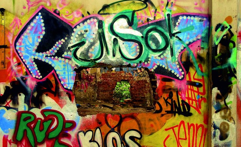 Beautiful Colorful For Graffiti Graffiti Wall Hole In The Wall Lostplaces Morbid Morbidity Shine Through Graffiti Art Modern Art Contemporary Art Powerful Holeinthewall