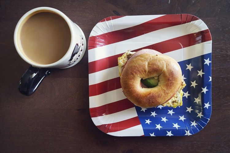 Starting my day right with an American breakfast! Check This Out Taking Photos Food Sandwiches Bagels America Flag 4th Of July Fourth Of July Eating Coffee High Angle View Breakfast SONY A7ii Showcase July