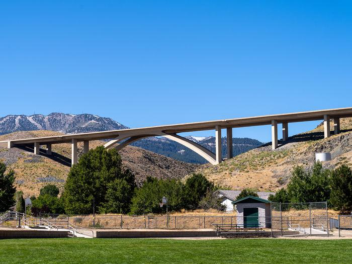 Arch bridge against blue sky