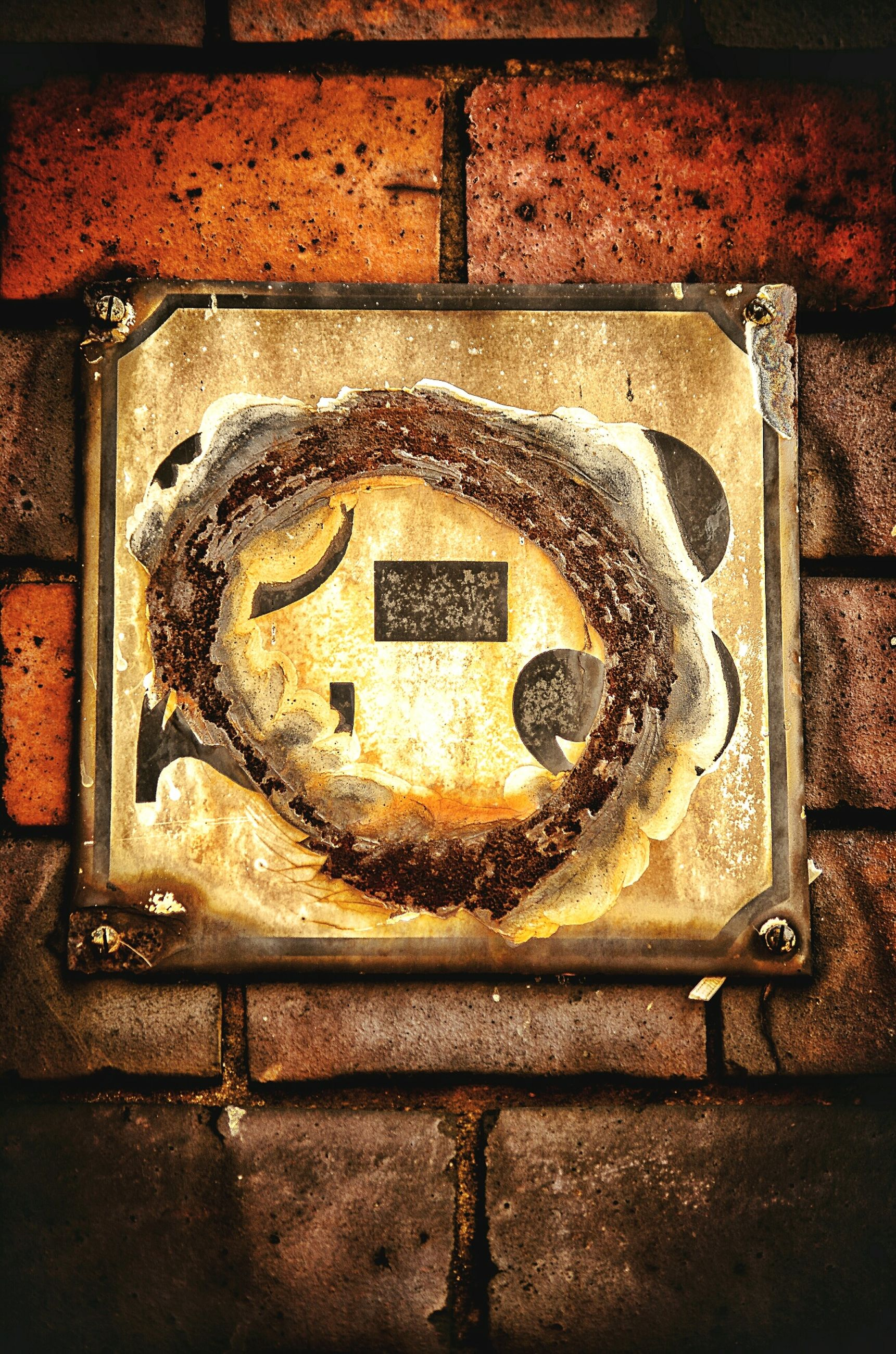 metal, communication, text, western script, rusty, close-up, indoors, old, wall - building feature, metallic, no people, number, metal grate, high angle view, old-fashioned, day, capital letter, safety, door