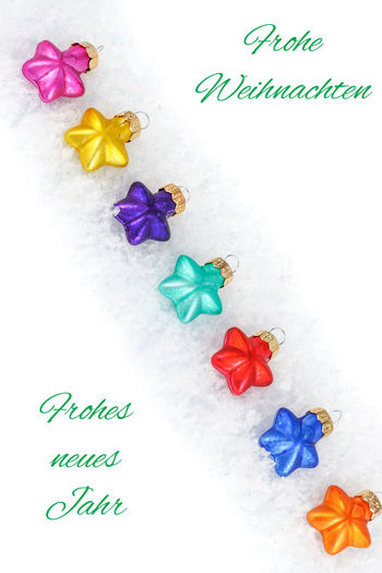 Christmas December German Winter Balls Bauble Card Card Design Christmas Decoration Close-up Colorful Decoration Diagonals Indoors  Multi Colored No People Paper Purple Season  Snow Text White Background