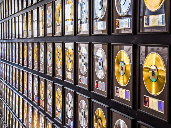 A wall of records inside the Country Music Hall of Fame. Country Gold Leading Lines Music Relaxing Backgrounds Circles Close-up Day Frame Full Frame Indoors  No People Pattern Records Repetition Silver
