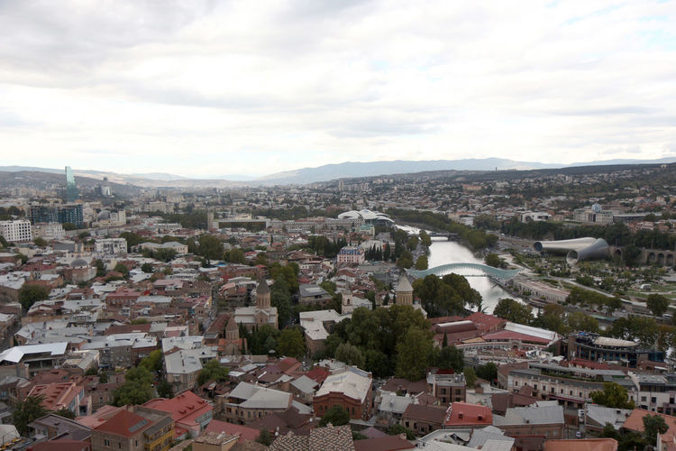 Georgien Georgia Tibilisi Tiflis City Architecture Building Exterior Built Structure Building Sky Residential District Cloud - Sky Mountain Town Roof Environment Crowd Day Nature Landscape House Outdoors High Angle View Community Cityscape TOWNSCAPE Settlement