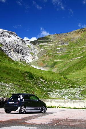 Abarth 500 Fiat Fiat 500 Abarth Black Car Landscape Mouintains No People Passo Stelvio Stelvio Stelvio Pass