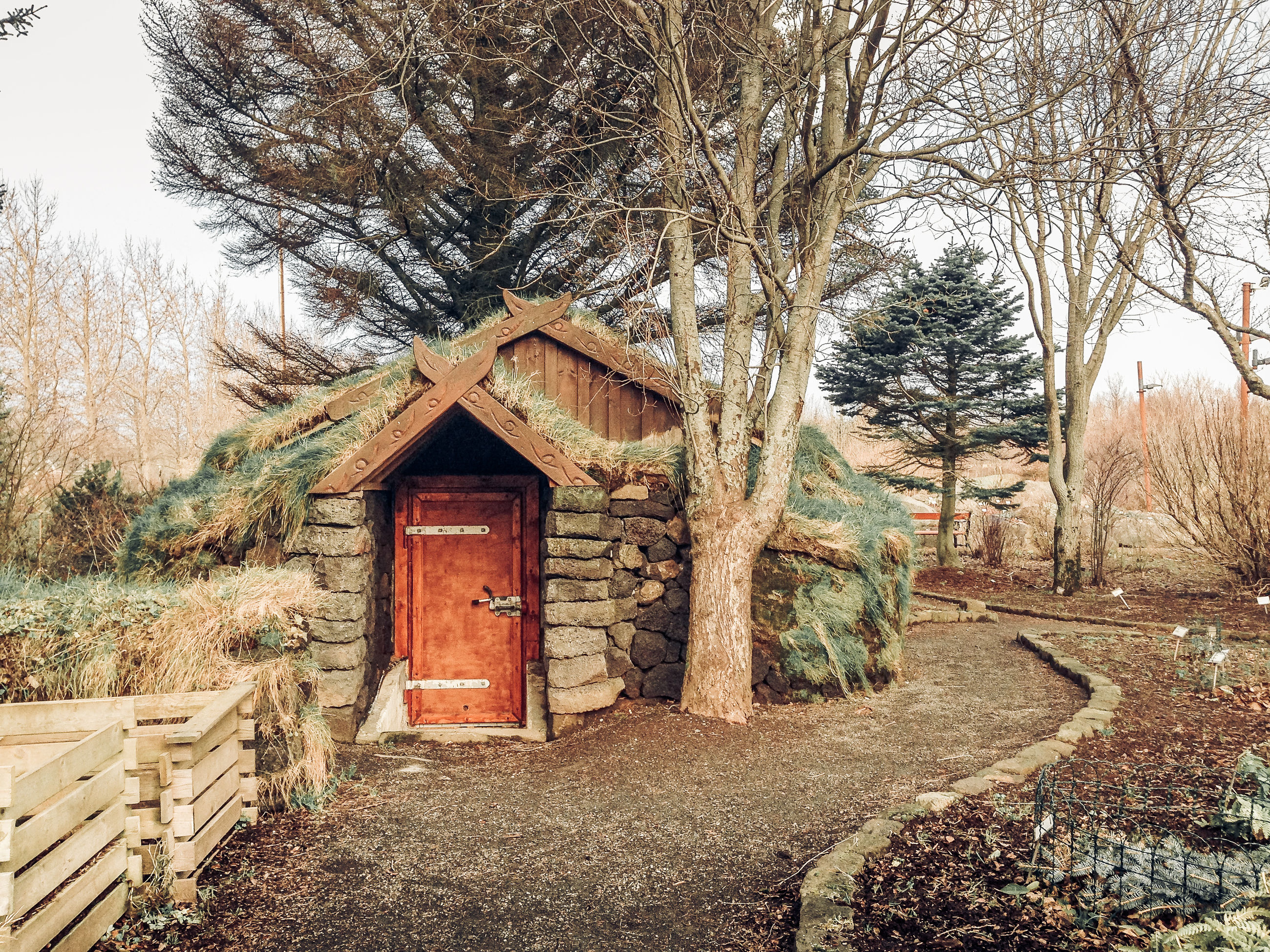 tree, architecture, built structure, plant, no people, building exterior, day, building, nature, bare tree, the way forward, direction, wood - material, growth, house, hut, land, outdoors, sky, landscape, cottage, cabin