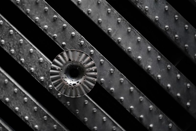 Metal Beams Close-up Day Indoors  Metal No People Pattern Rivets Technology