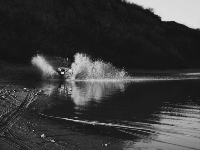 Out and about... Monochromatic Mood Black And White Blurred Motion Dark Reflection Motion Water_collection Splash Water Motion Outdoors Offroad via Fotofall Mustang Mike