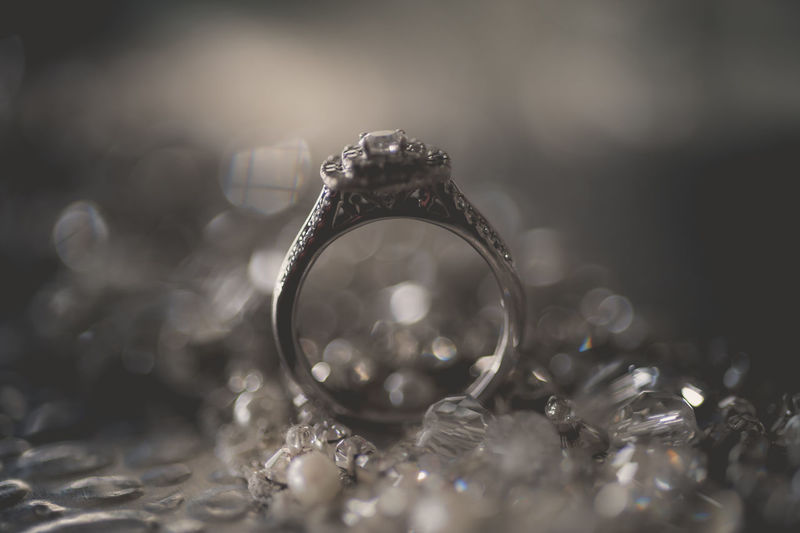 Close-up of ring on table