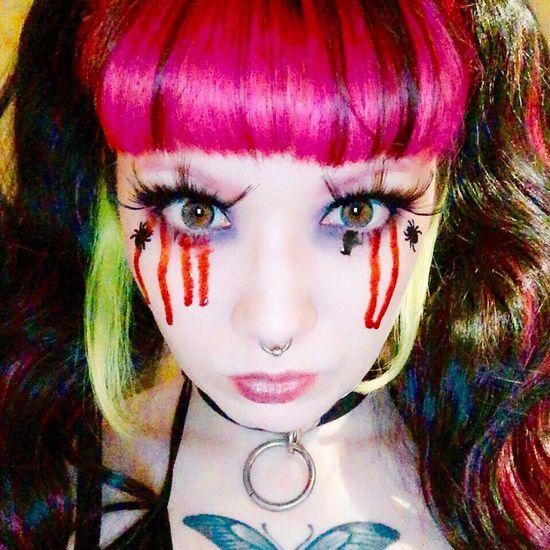 Make-up Dyed Hair Looking At Camera Multi Colored Halloween Blood Blut Bleeding Eyelash Eye Augen Eyes Spider Pink Color Pink Septum Krank Sick Depressed ThatsMe Self Portrait Selfportrait Selfie ✌ Bambi Blackveil