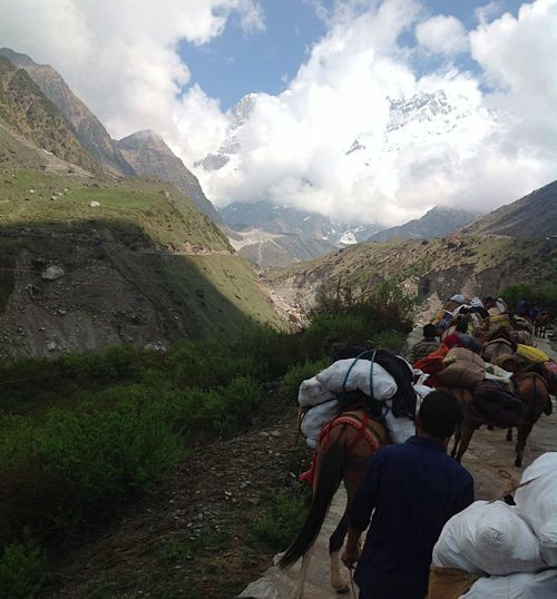 Pilgrims on the way through the mountains. Beauty In Nature Clouds Clouds And Sky Donkeys Fresh Air Himalayas Holy Landscape Mountain Peak Mountain Range Mountain View Mountains Mountains And Sky Mules People People And Places Pilgrimage Pilgrims Religion And Tradition Rishikesh Scenics Tourism Travel Travel Destinations Walking Miles Away Neighborhood Map The Great Outdoors - 2017 EyeEm Awards Let's Go. Together. Breathing Space