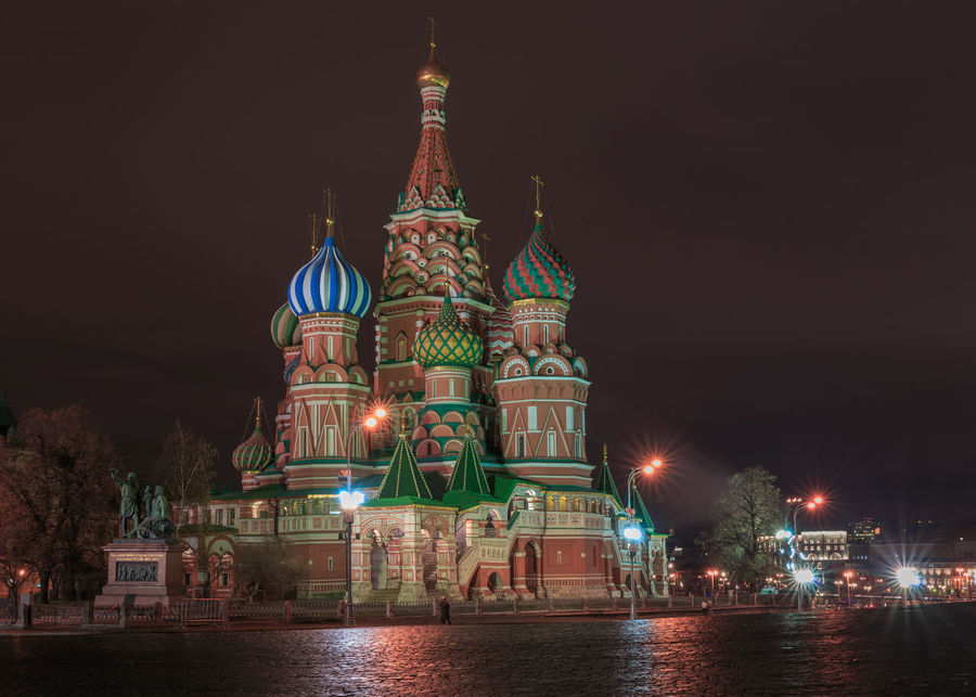 Saint Baisil's Cathedral in Moscow at night from the Red Square Night Building Exterior Architecture Illuminated Religion Place Of Worship Travel Destinations Outdoors City Red Square Saint Basil's Cathedral Basilius Cathedral Nightscape