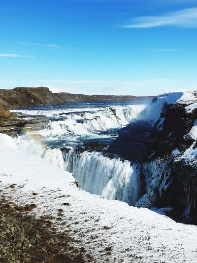 Waterfall Gullfoss Great View Falling Blue Sky Iceland_collection Iceland116