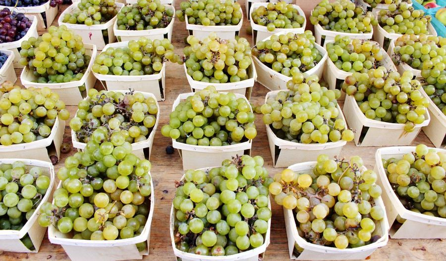 Grapes for sale at market stall