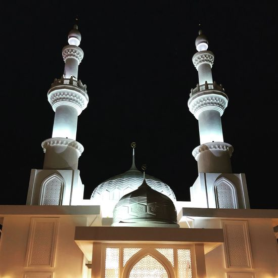 Masjid Tanah. Mobilephotography Night Mosque EyeEm Selects Religion Low Angle View Spirituality No People Dome Architecture Place Of Worship Close-up