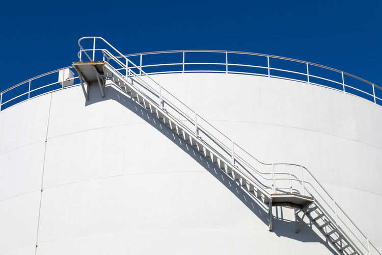 Low angle view of stairway against clear sky
