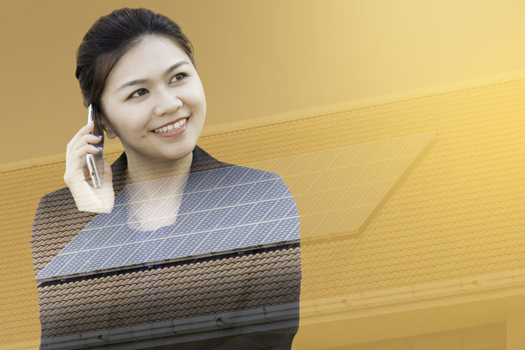 Double exposure of businesswoman using phone with solar panel on roof Asian  Business Double Exposure Innovation Power Roof Solar Woman Abstract Background Building Businesswoman Cell Communication Connection Electricity  Manager Mobile Phone Multiexposure  People Portrait Smiling Solar Energy Technology Using Phone