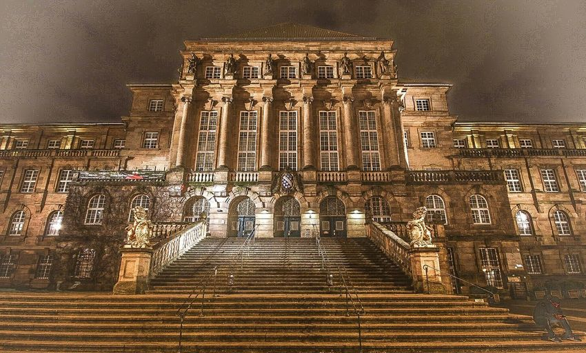 Rathaus Kassel im Mystischen Stil Www.m-a-photografie.de F 2.8 Tamron 10-18 Mm Canon 70d Photography Mystery Obere Königsstraße Rathaus Dukomenta Stadt Kassel Staircase Steps Steps And Staircases Travel Destinations Low Angle View No People Night Ancient Civilization Illuminated