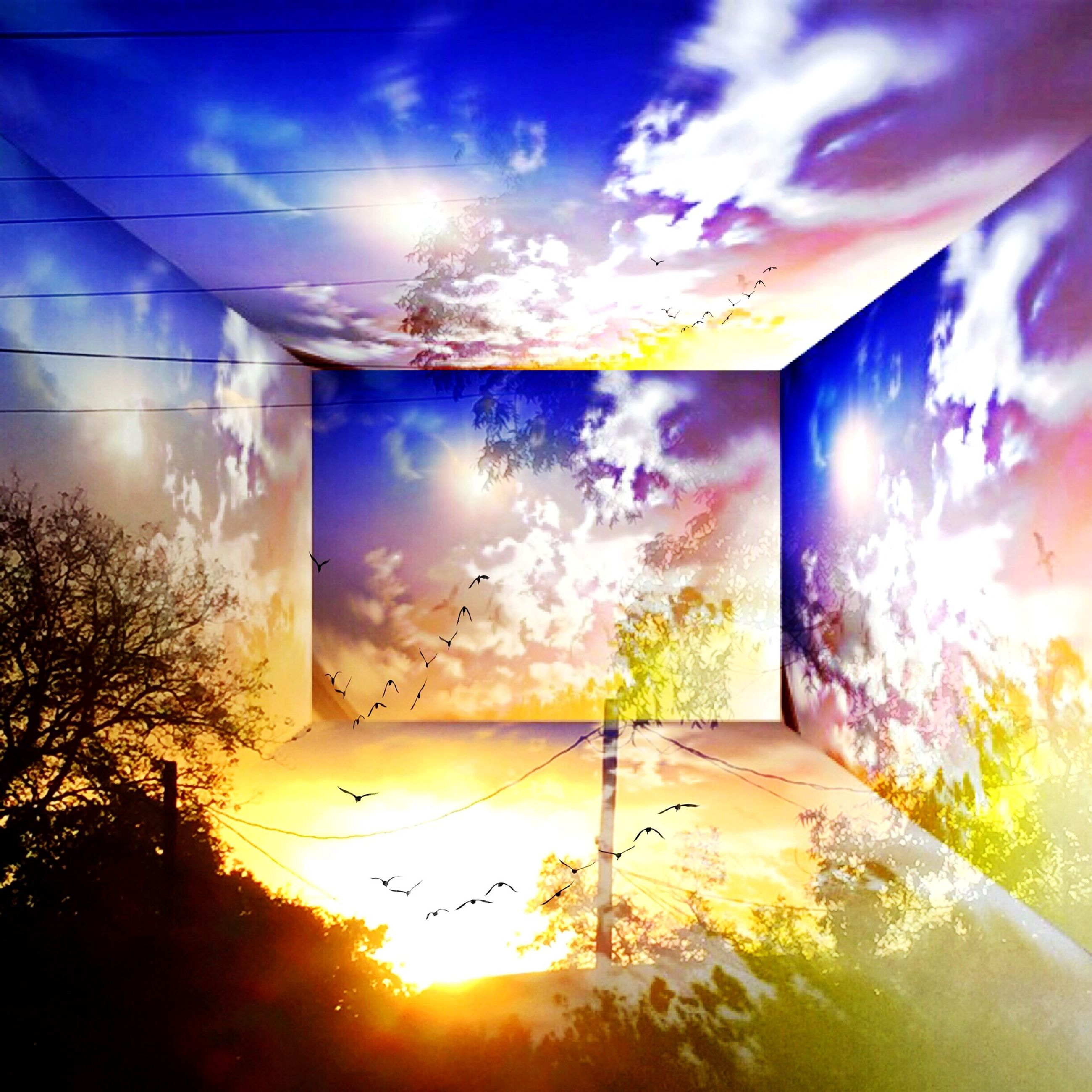 sky, sun, indoors, sunlight, window, built structure, architecture, sunset, cloud - sky, sunbeam, blue, house, cloud, glass - material, nature, no people, beauty in nature, tree, lens flare, transparent