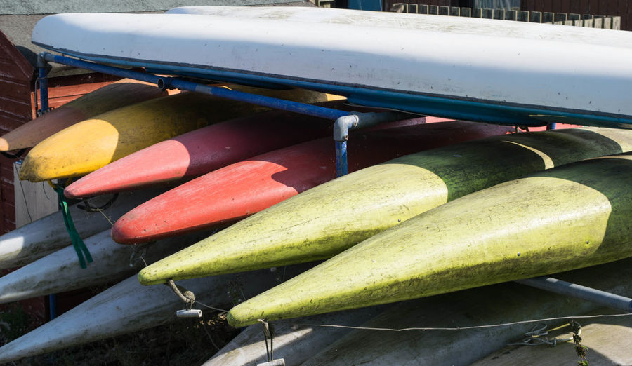 Colourful rowing boats Rowing Rowing Boat Close-up Day Food Food And Drink Freshness Green Color Healthy Eating High Angle View Nature Nautical Vessel No People Outdoors Vegetable Water