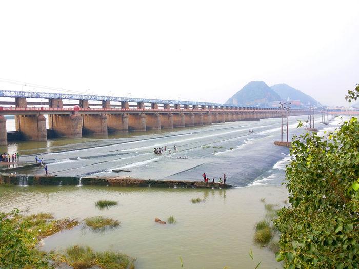 Indiapictures Outdoors Bridgeview Enginneering River Krishna prakasam barage sir cotton author vijayawada