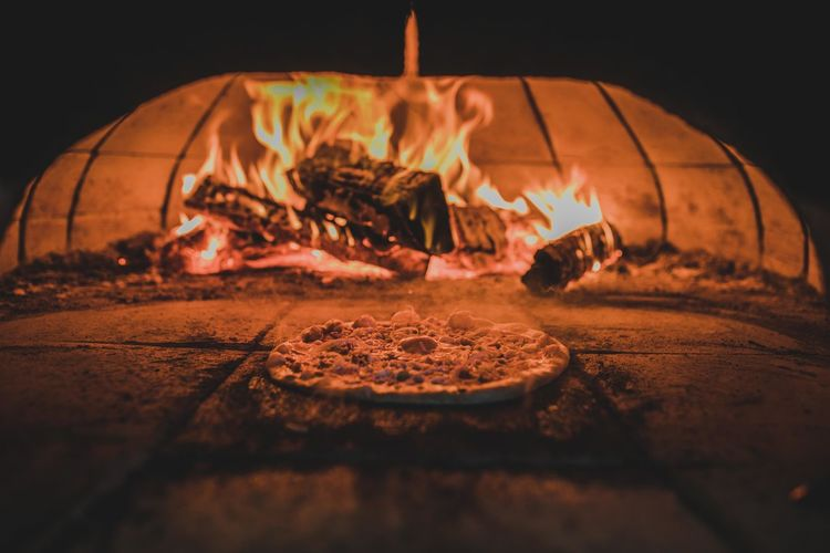 Baked Burning Close-up Fire Fire - Natural Phenomenon Flame Food Food And Drink Freshness Glowing Heat - Temperature Indoors  Nature No People Oven Pizza Preparation  Selective Focus Wood Wood - Material