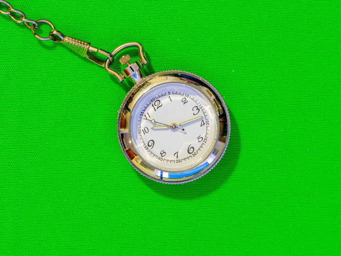High angle view of clock on green leaf