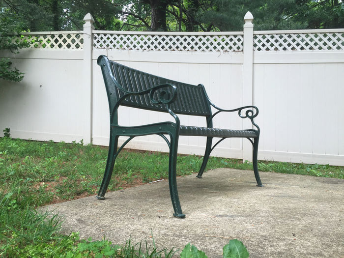 Absence Day Empty Front Or Back Yard Furniture Grass Grassy Green Color Growth Lawn Nature No People Outdoors Park Park Bench Plant Playground Seat Sunlight Swing Tranquility